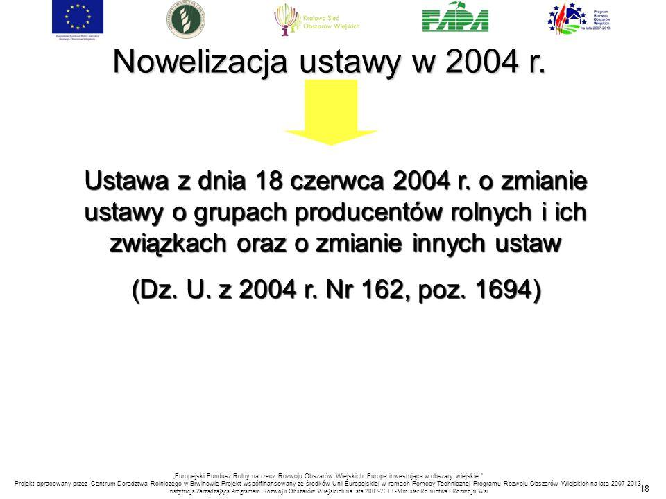 Nowelizacja ustawy w 2004 r.