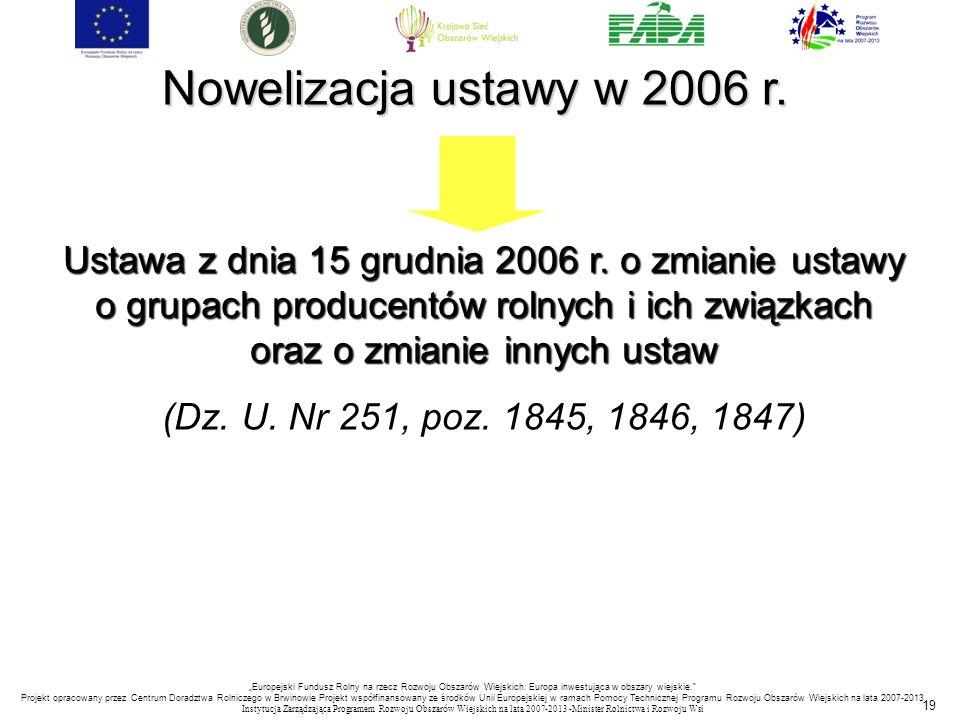 Nowelizacja ustawy w 2006 r.