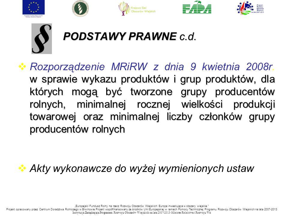 PODSTAWY PRAWNE c.d.
