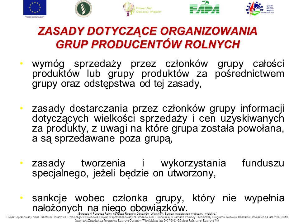 ZASADY DOTYCZĄCE ORGANIZOWANIA GRUP PRODUCENTÓW ROLNYCH