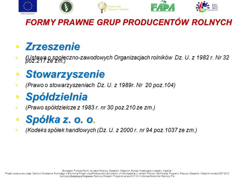 FORMY PRAWNE GRUP PRODUCENTÓW ROLNYCH