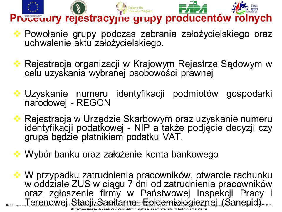 Procedury rejestracyjne grupy producentów rolnych