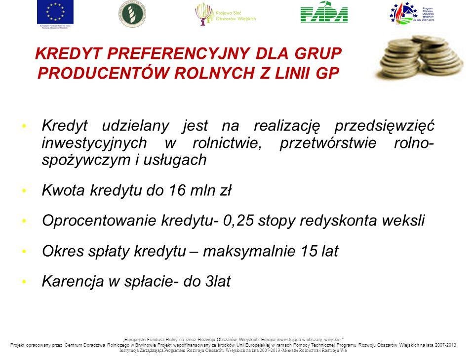 KREDYT PREFERENCYJNY DLA GRUP PRODUCENTÓW ROLNYCH Z LINII GP