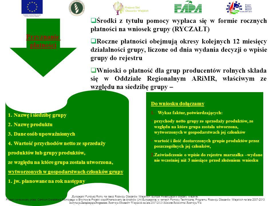 Środki z tytułu pomocy wypłaca się w formie rocznych płatności na wniosek grupy (RYCZAŁT)