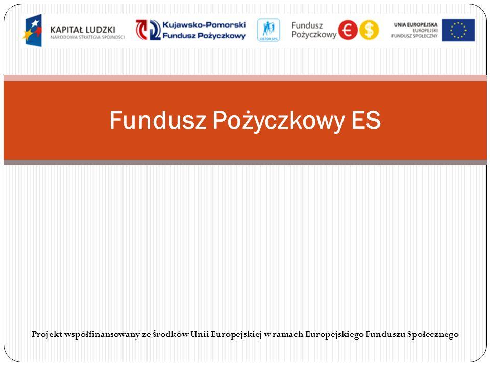 Fundusz Pożyczkowy ES Projekt współfinansowany ze środków Unii Europejskiej w ramach Europejskiego Funduszu Społecznego.