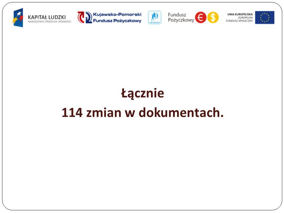 Łącznie 114 zmian w dokumentach.