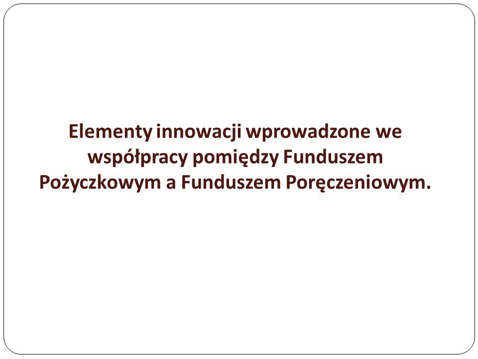 Elementy innowacji wprowadzone we współpracy pomiędzy Funduszem Pożyczkowym a Funduszem Poręczeniowym.