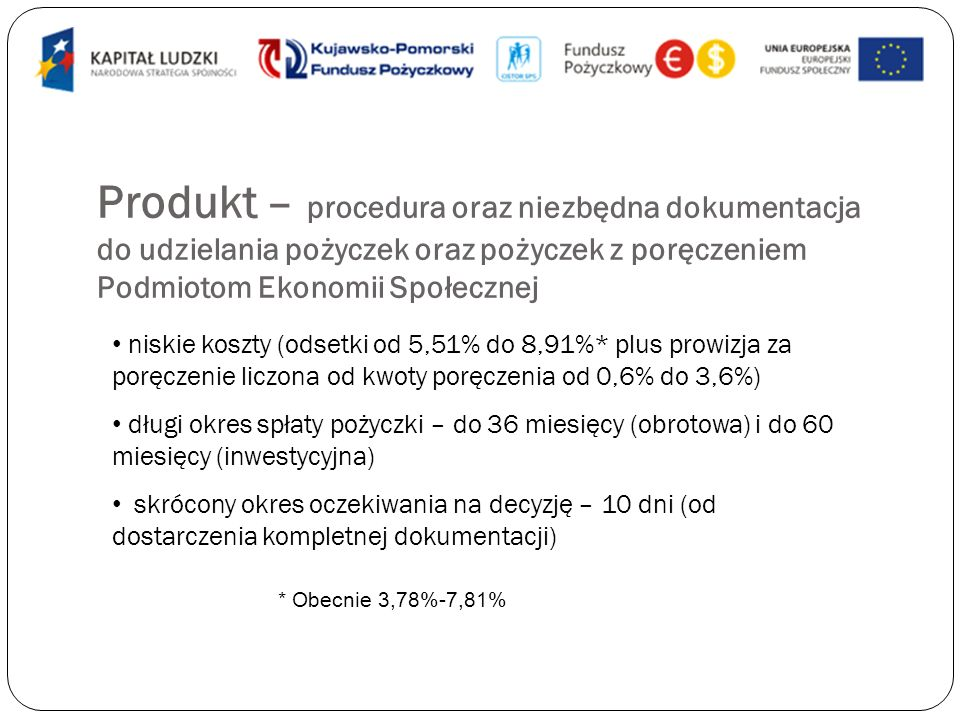 Produkt – procedura oraz niezbędna dokumentacja do udzielania pożyczek oraz pożyczek z poręczeniem Podmiotom Ekonomii Społecznej