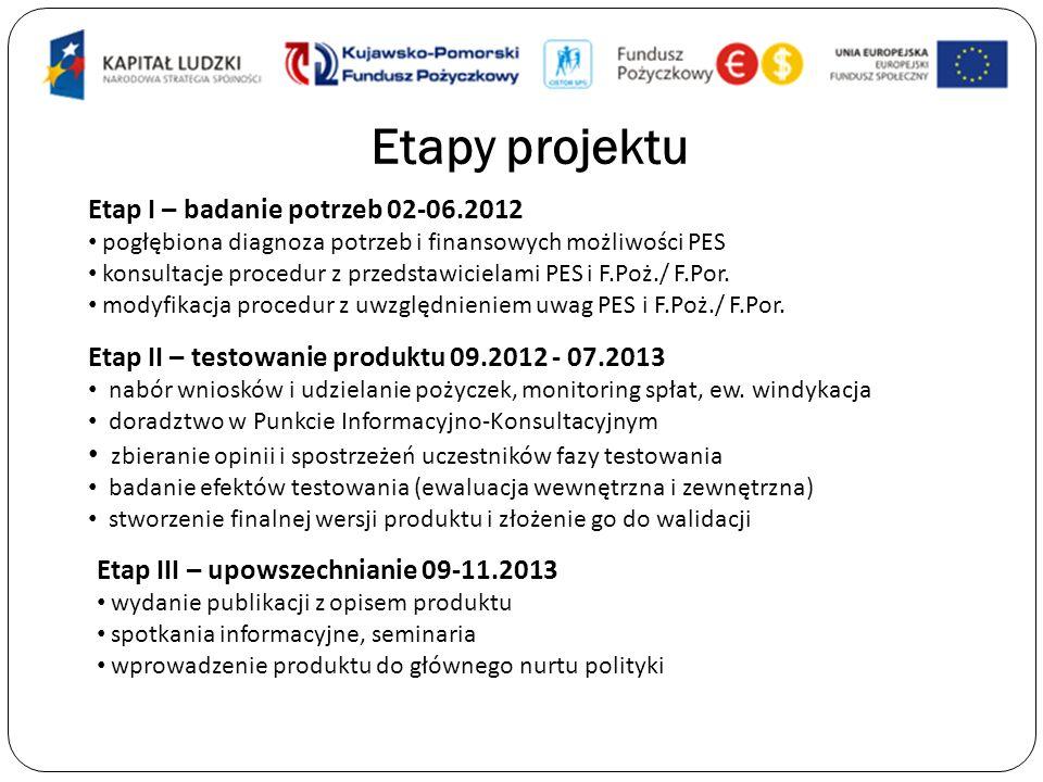 Etapy projektu Etap I – badanie potrzeb 02-06.2012
