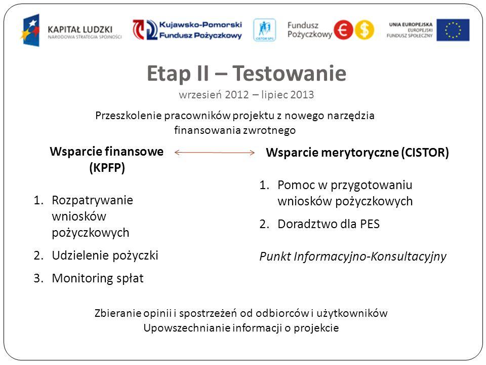 Etap II – Testowanie wrzesień 2012 – lipiec 2013