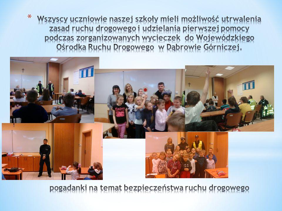 Wszyscy uczniowie naszej szkoły mieli możliwość utrwalenia zasad ruchu drogowego i udzielania pierwszej pomocy podczas zorganizowanych wycieczek do Wojewódzkiego Ośrodka Ruchu Drogowego w Dąbrowie Górniczej.