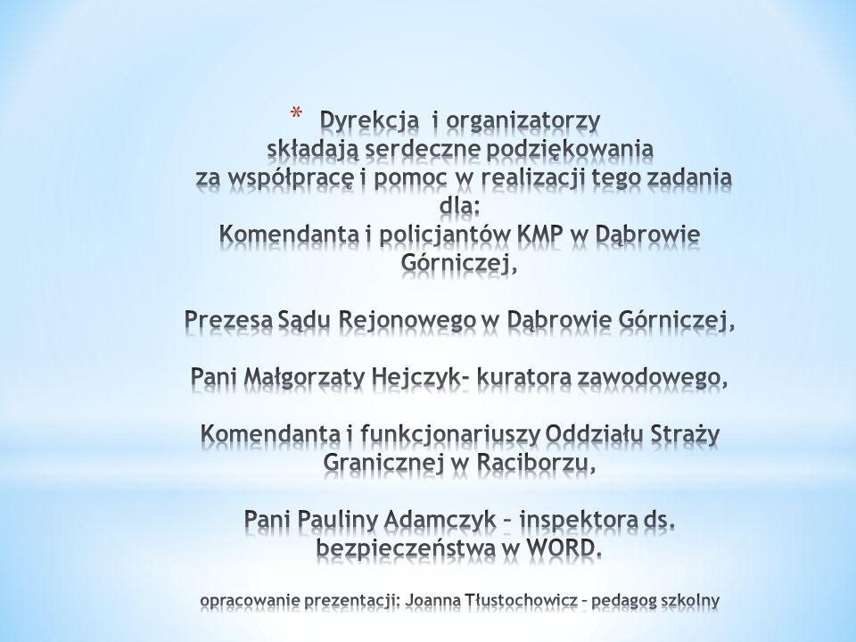 Dyrekcja i organizatorzy składają serdeczne podziękowania za współpracę i pomoc w realizacji tego zadania dla: Komendanta i policjantów KMP w Dąbrowie Górniczej, Prezesa Sądu Rejonowego w Dąbrowie Górniczej, Pani Małgorzaty Hejczyk- kuratora zawodowego, Komendanta i funkcjonariuszy Oddziału Straży Granicznej w Raciborzu, Pani Pauliny Adamczyk – inspektora ds.
