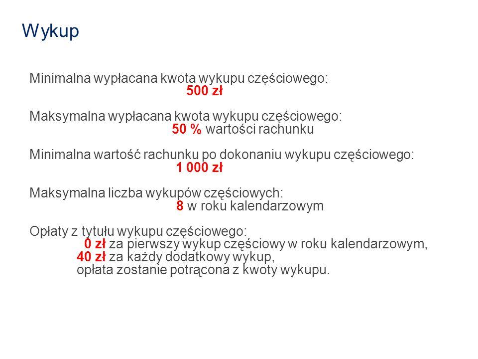 Wykup Minimalna wypłacana kwota wykupu częściowego: 500 zł