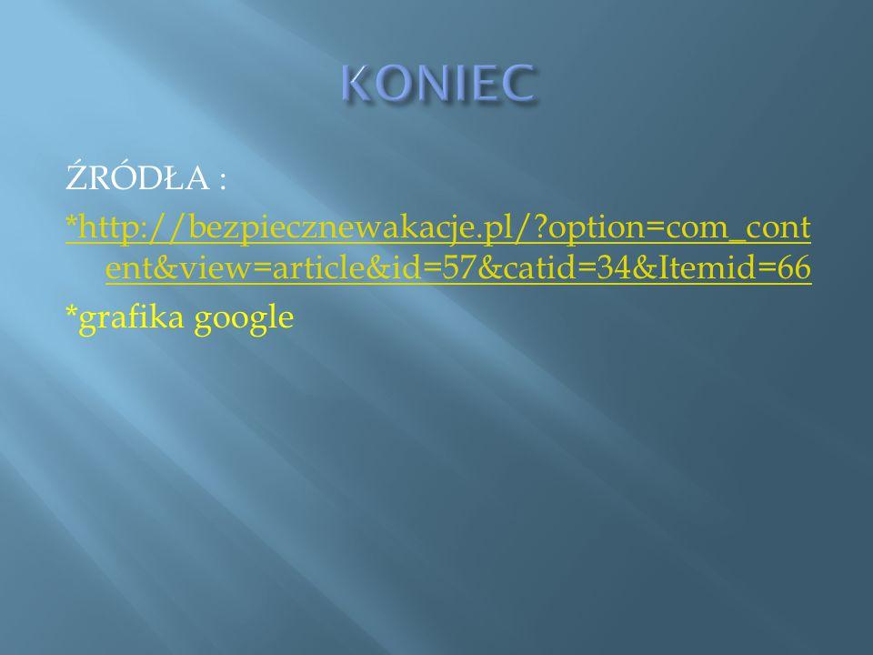 KONIEC ŹRÓDŁA : *http://bezpiecznewakacje.pl/ option=com_content&view=article&id=57&catid=34&Itemid=66 *grafika google
