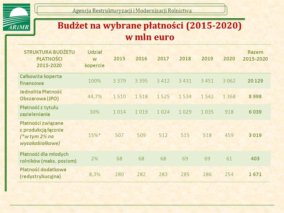 Budżet na wybrane płatności (2015-2020) w mln euro