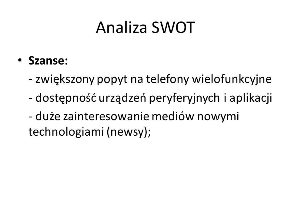 Analiza SWOT Szanse: - zwiększony popyt na telefony wielofunkcyjne