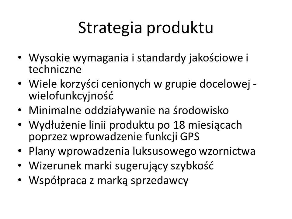 Strategia produktu Wysokie wymagania i standardy jakościowe i techniczne. Wiele korzyści cenionych w grupie docelowej - wielofunkcyjność.