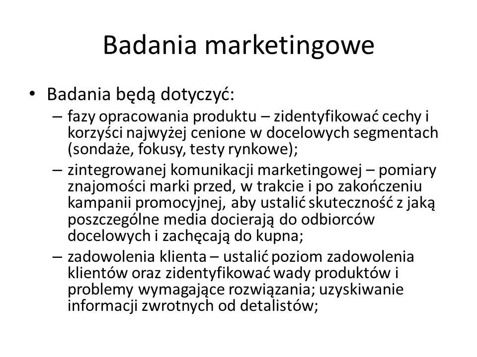 Badania marketingowe Badania będą dotyczyć: