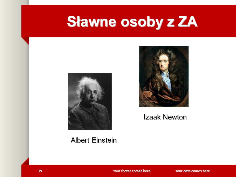 Sławne osoby z ZA Izaak Newton Albert Einstein Your date comes here