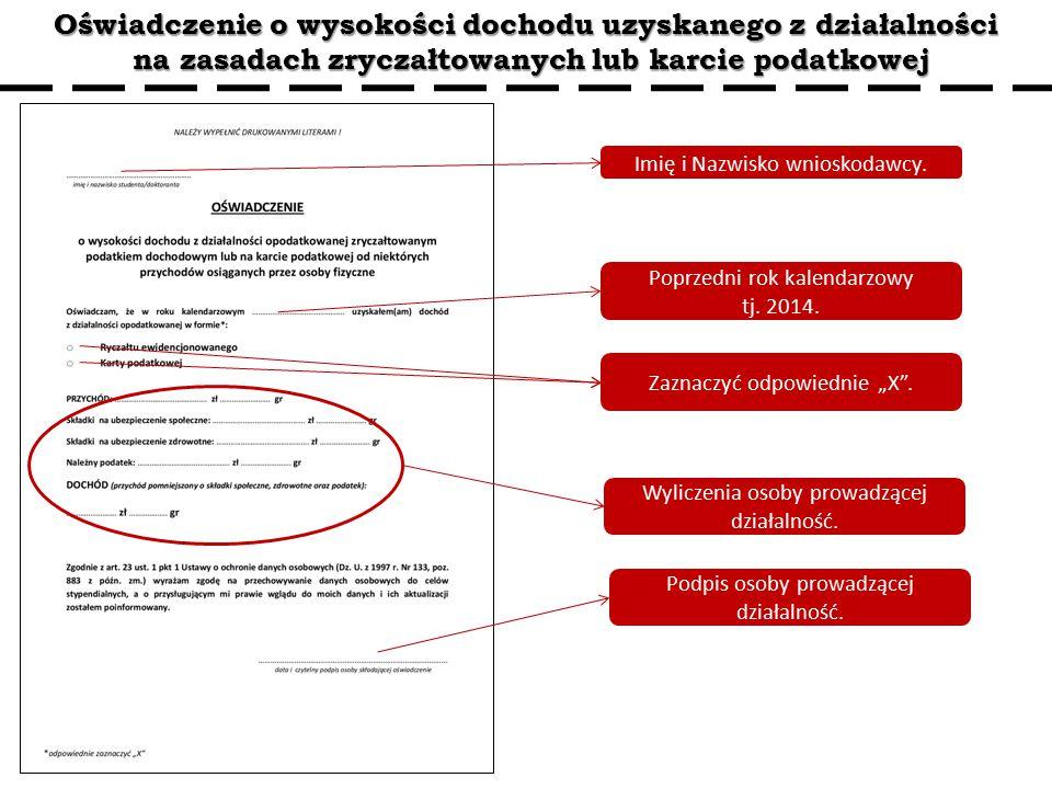 Oświadczenie o wysokości dochodu uzyskanego z działalności na zasadach zryczałtowanych lub karcie podatkowej