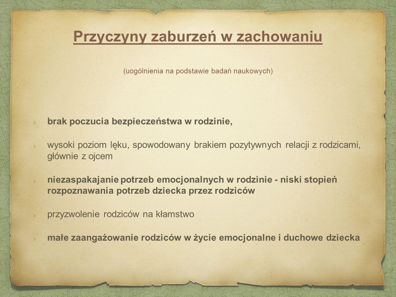 Przyczyny zaburzeń w zachowaniu (uogólnienia na podstawie badań naukowych)