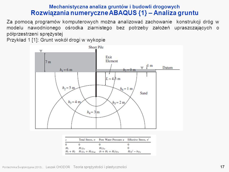 Rozwiązania numeryczne ABAQUS {1} – Analiza gruntu