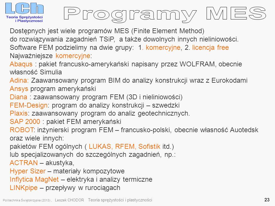 Programy MES Dostępnych jest wiele programów MES (Finite Element Method) do rozwiązywania zagadnień TSiP, a także dowolnych innych nieliniowości.