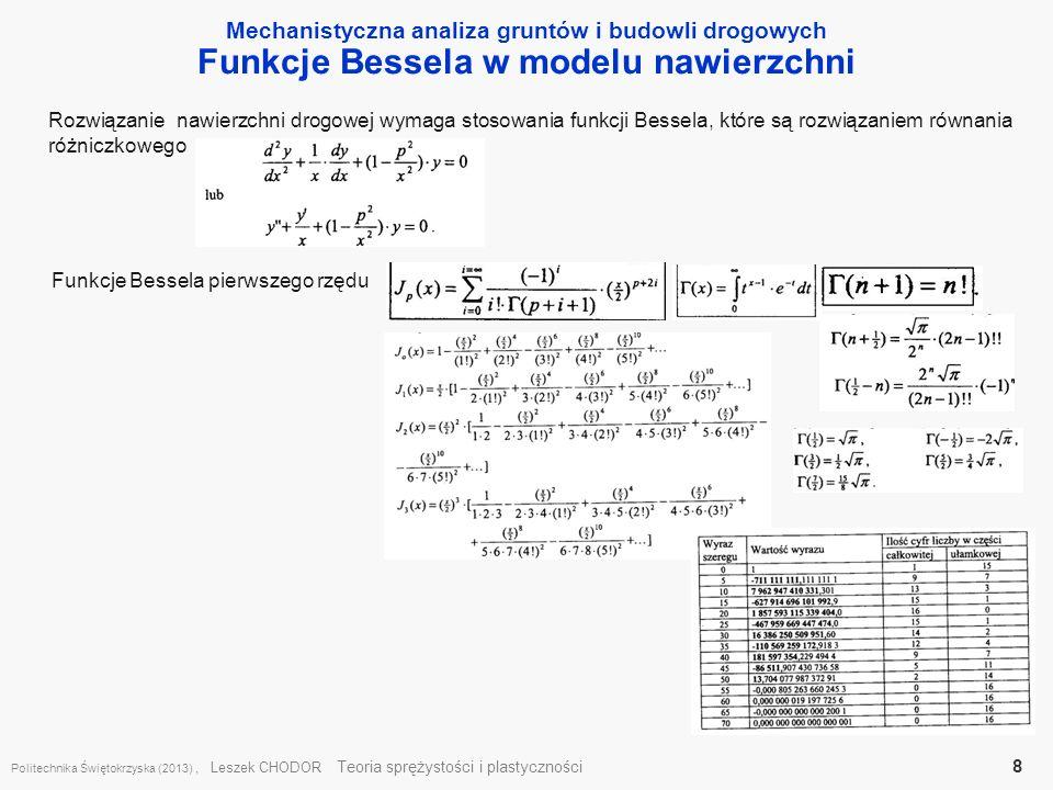 Funkcje Bessela w modelu nawierzchni