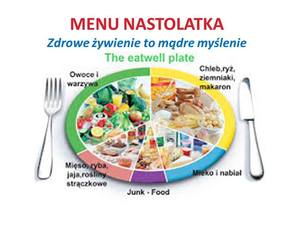 MENU NASTOLATKA Zdrowe żywienie to mądre myślenie