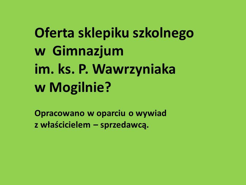 Oferta sklepiku szkolnego w Gimnazjum im. ks. P. Wawrzyniaka w Mogilnie