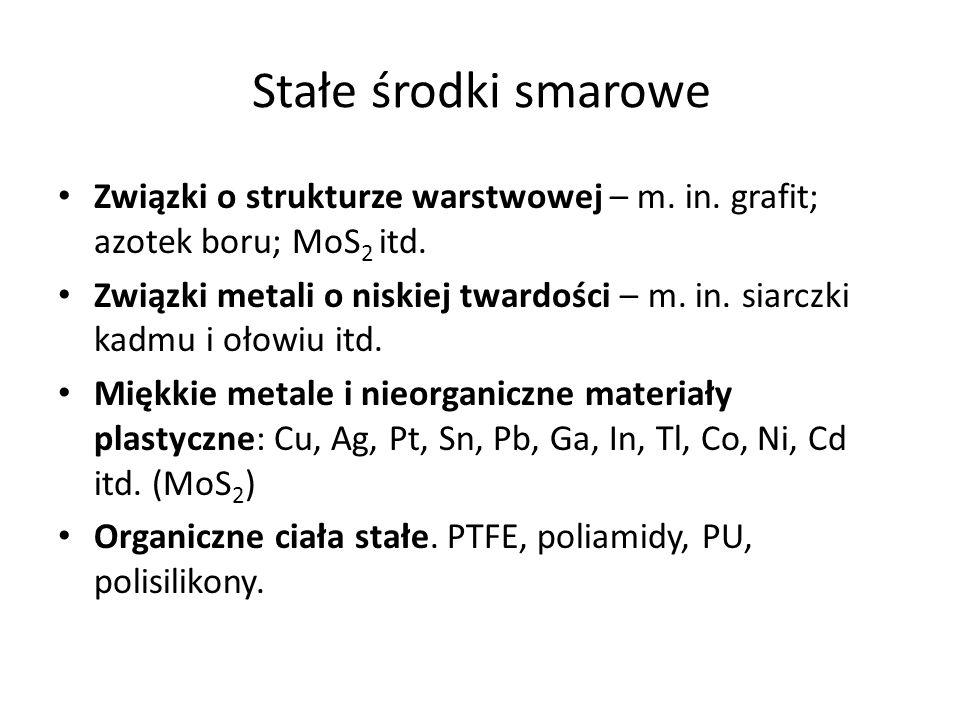 Stałe środki smarowe Związki o strukturze warstwowej – m. in. grafit; azotek boru; MoS2 itd.