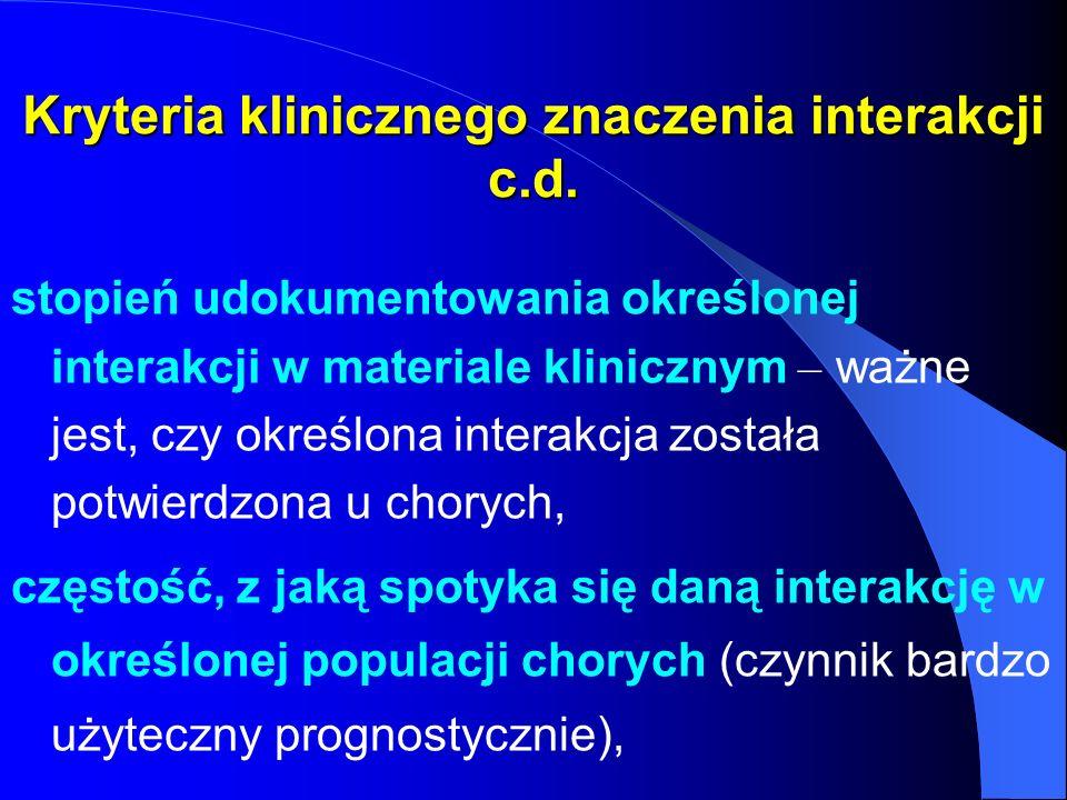 Kryteria klinicznego znaczenia interakcji c.d.