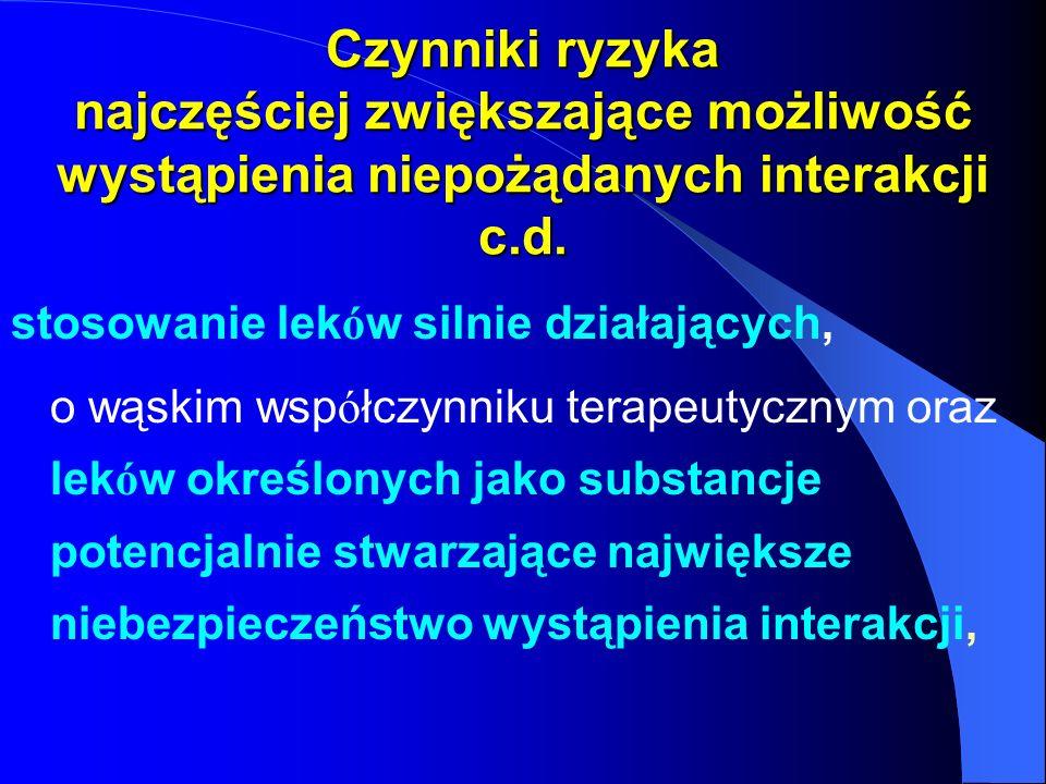 Czynniki ryzyka najczęściej zwiększające możliwość wystąpienia niepożądanych interakcji c.d.
