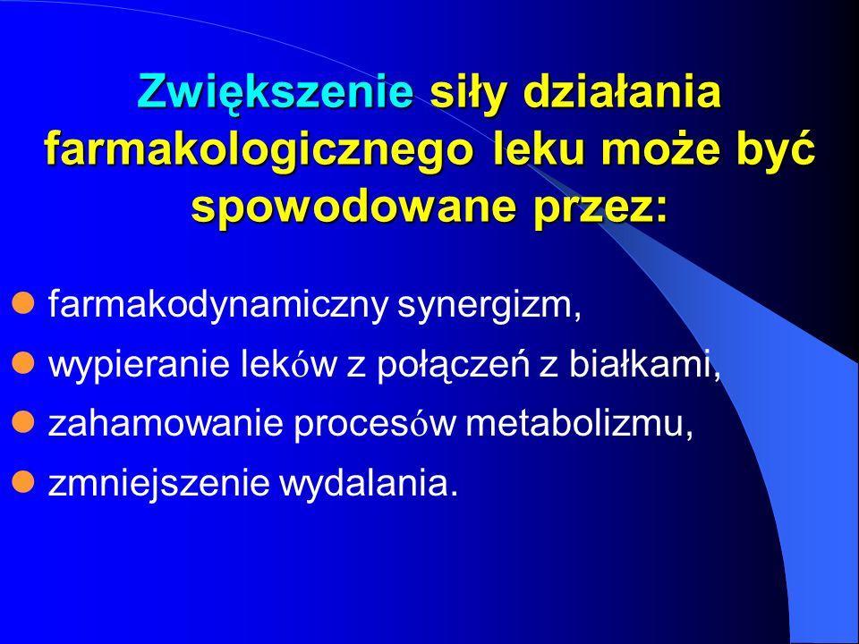 Zwiększenie siły działania farmakologicznego leku może być spowodowane przez: