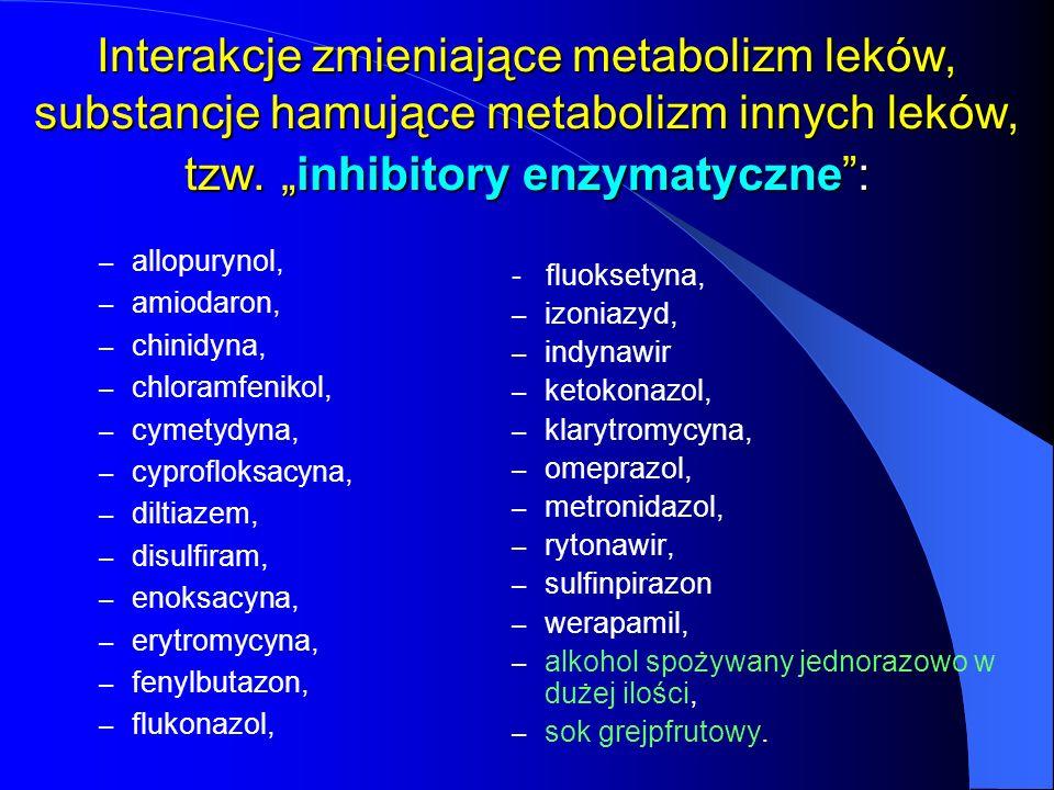 """Interakcje zmieniające metabolizm leków, substancje hamujące metabolizm innych leków, tzw. """"inhibitory enzymatyczne :"""