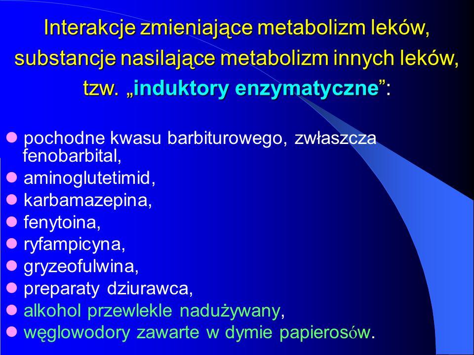 """Interakcje zmieniające metabolizm leków, substancje nasilające metabolizm innych leków, tzw. """"induktory enzymatyczne :"""