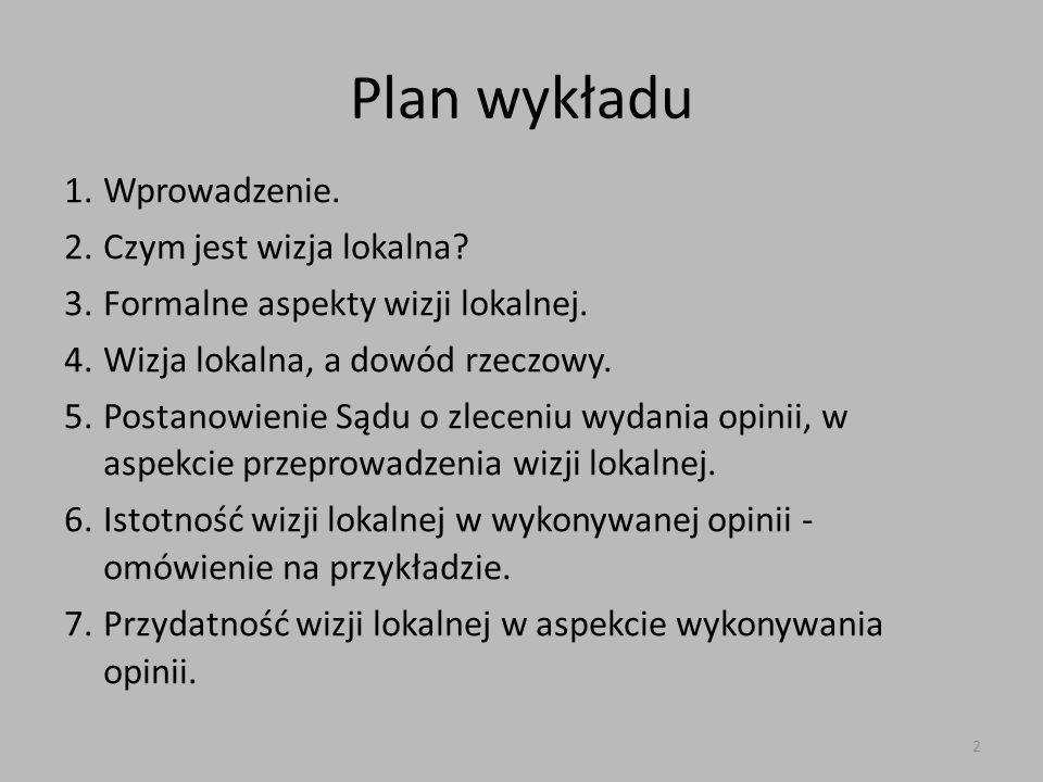 Plan wykładu Wprowadzenie. Czym jest wizja lokalna