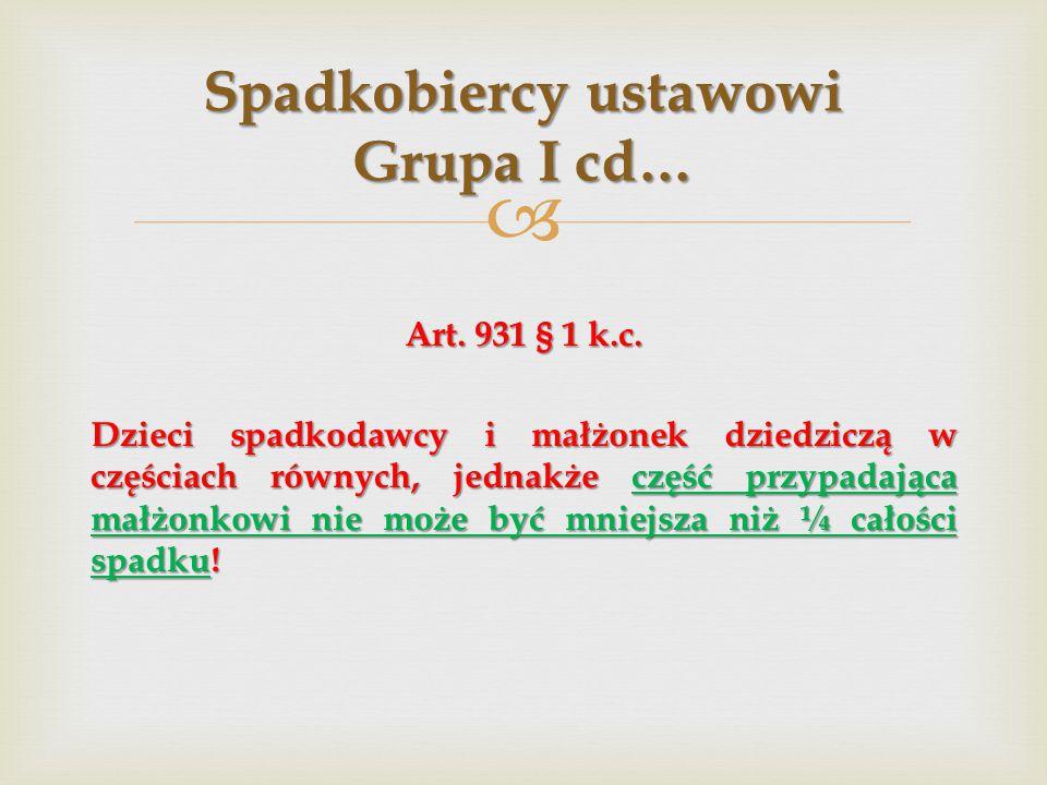 Spadkobiercy ustawowi Grupa I cd…