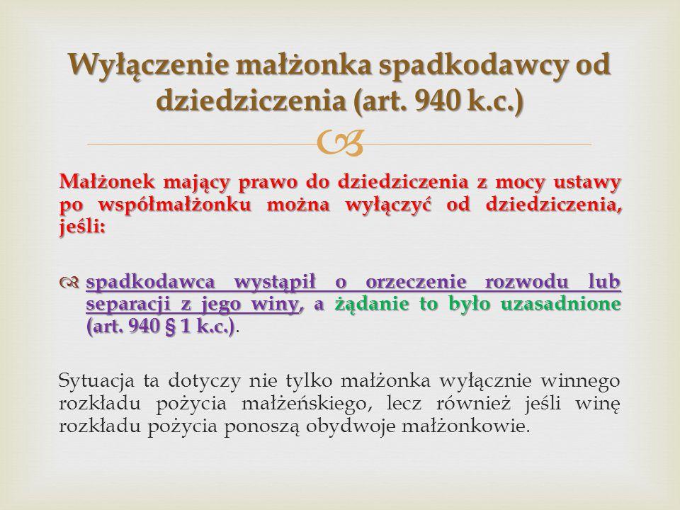 Wyłączenie małżonka spadkodawcy od dziedziczenia (art. 940 k.c.)