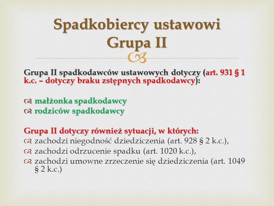 Spadkobiercy ustawowi Grupa II