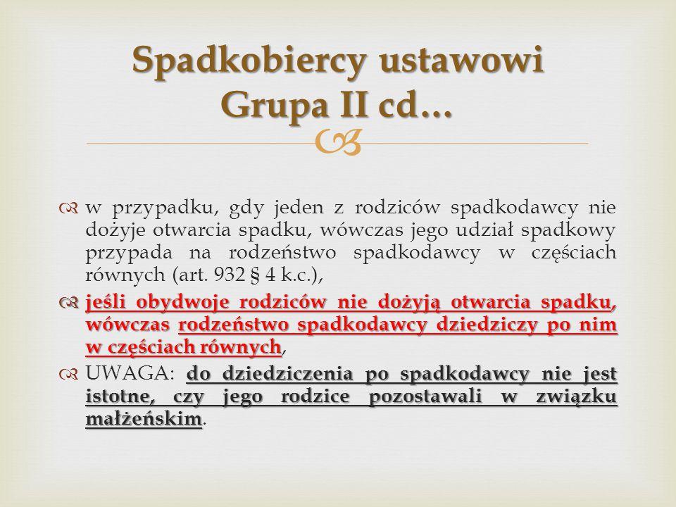 Spadkobiercy ustawowi Grupa II cd…
