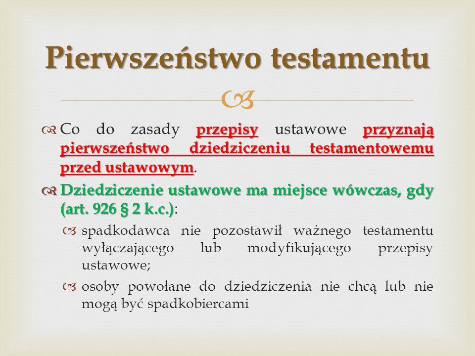 Pierwszeństwo testamentu