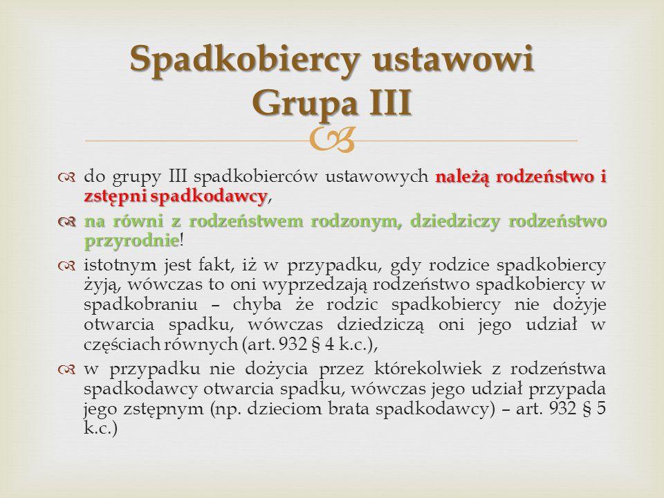 Spadkobiercy ustawowi Grupa III