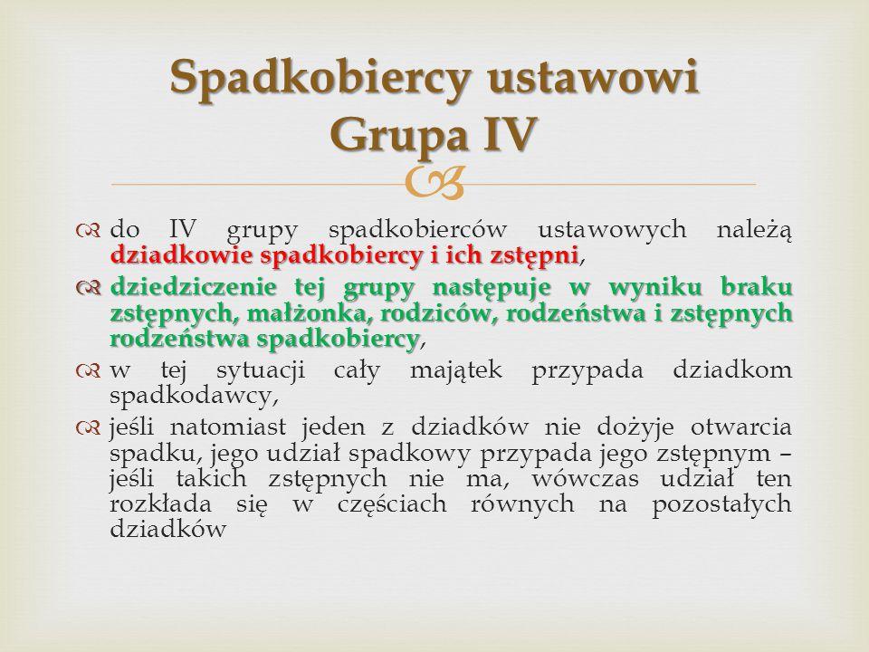 Spadkobiercy ustawowi Grupa IV