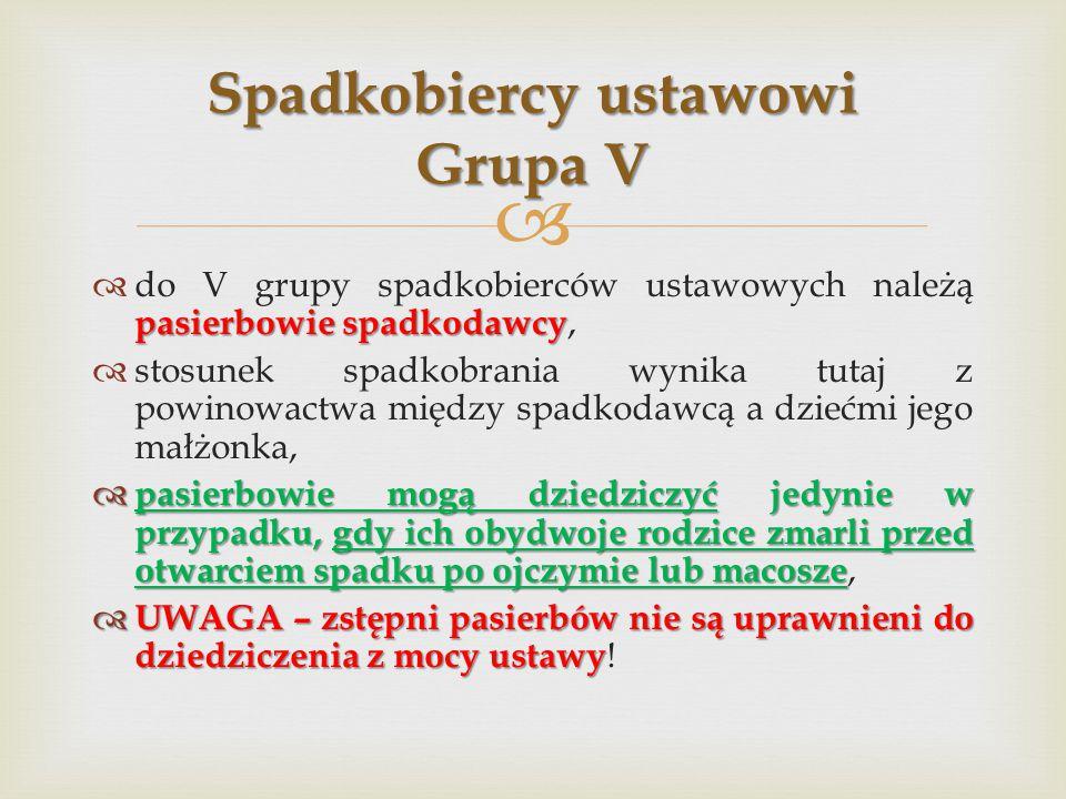 Spadkobiercy ustawowi Grupa V