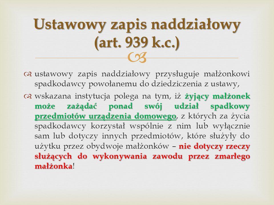 Ustawowy zapis naddziałowy (art. 939 k.c.)