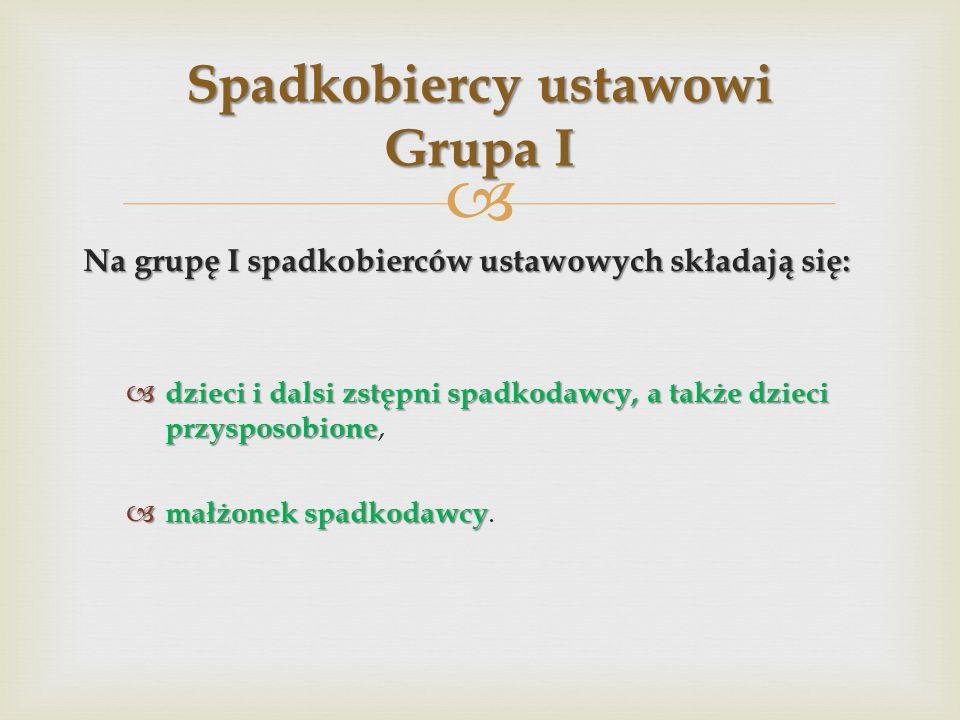 Spadkobiercy ustawowi Grupa I