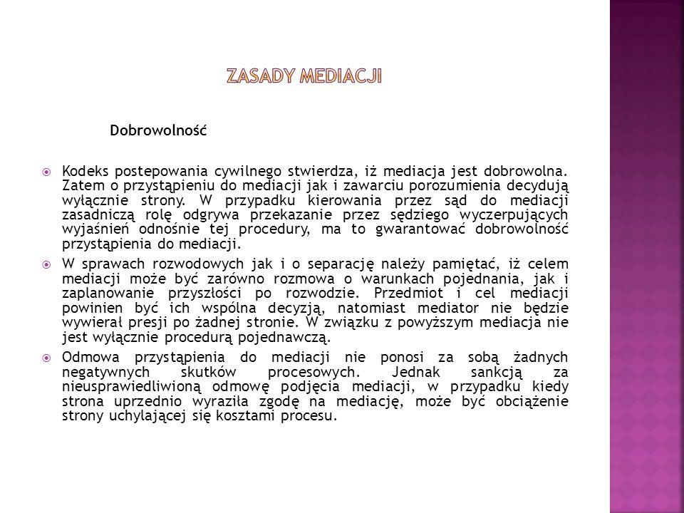 Zasady mediacji Dobrowolność