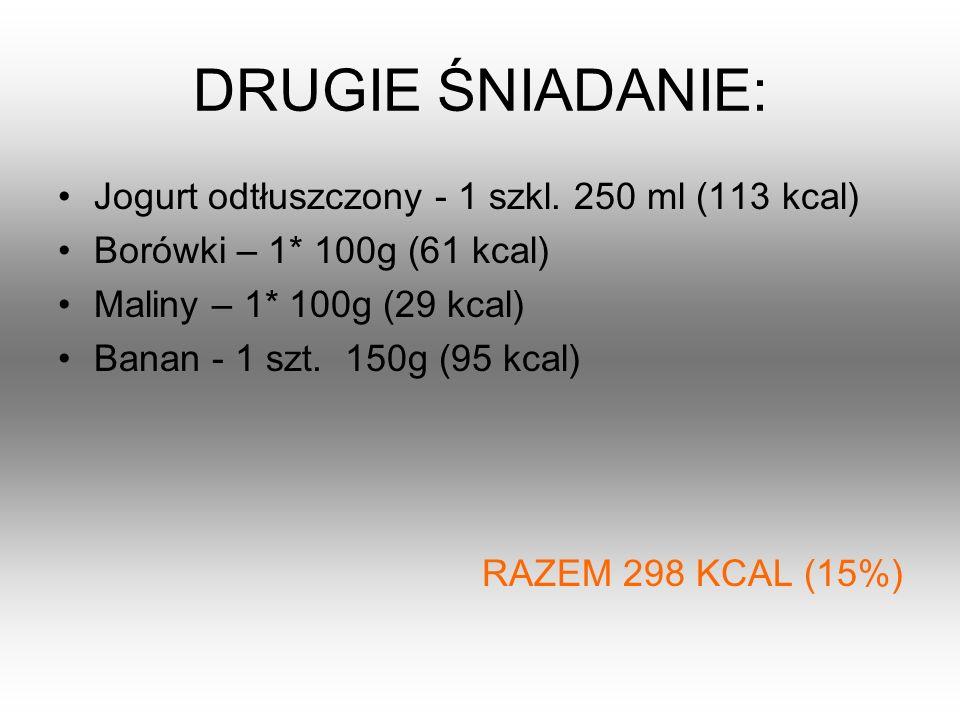 DRUGIE ŚNIADANIE: Jogurt odtłuszczony - 1 szkl. 250 ml (113 kcal)