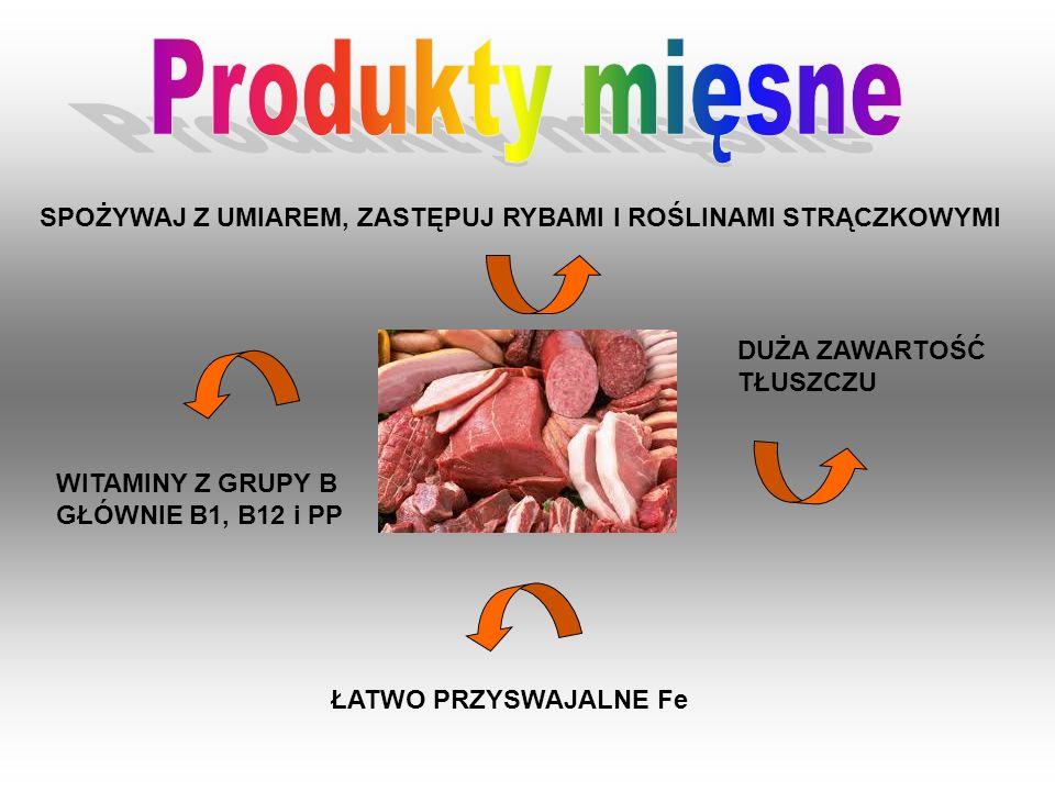 Produkty mięsneSPOŻYWAJ Z UMIAREM, ZASTĘPUJ RYBAMI I ROŚLINAMI STRĄCZKOWYMI. DUŻA ZAWARTOŚĆ TŁUSZCZU.